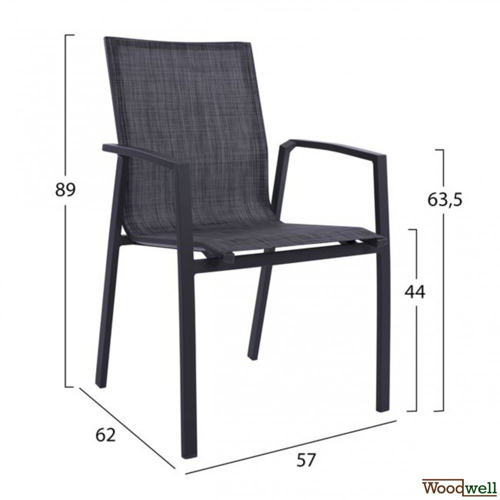 Aluminum stacking chair | Textile in gray anthracite