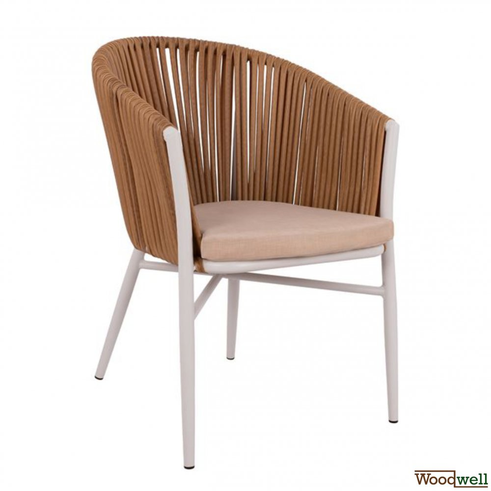 Armchair / Woodwell / Outdoor Armchair / Aluminum Skeleton / Knit Wicker / Beige
