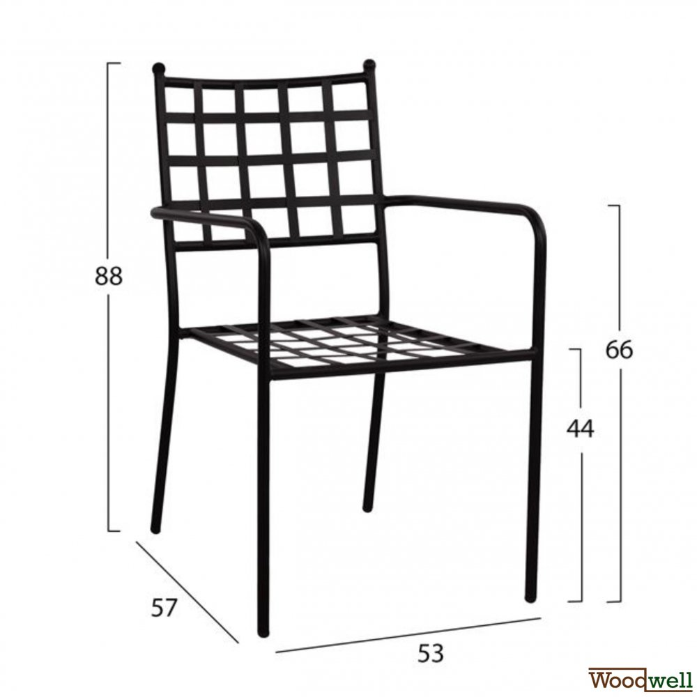 Metal chair with armrests in black color