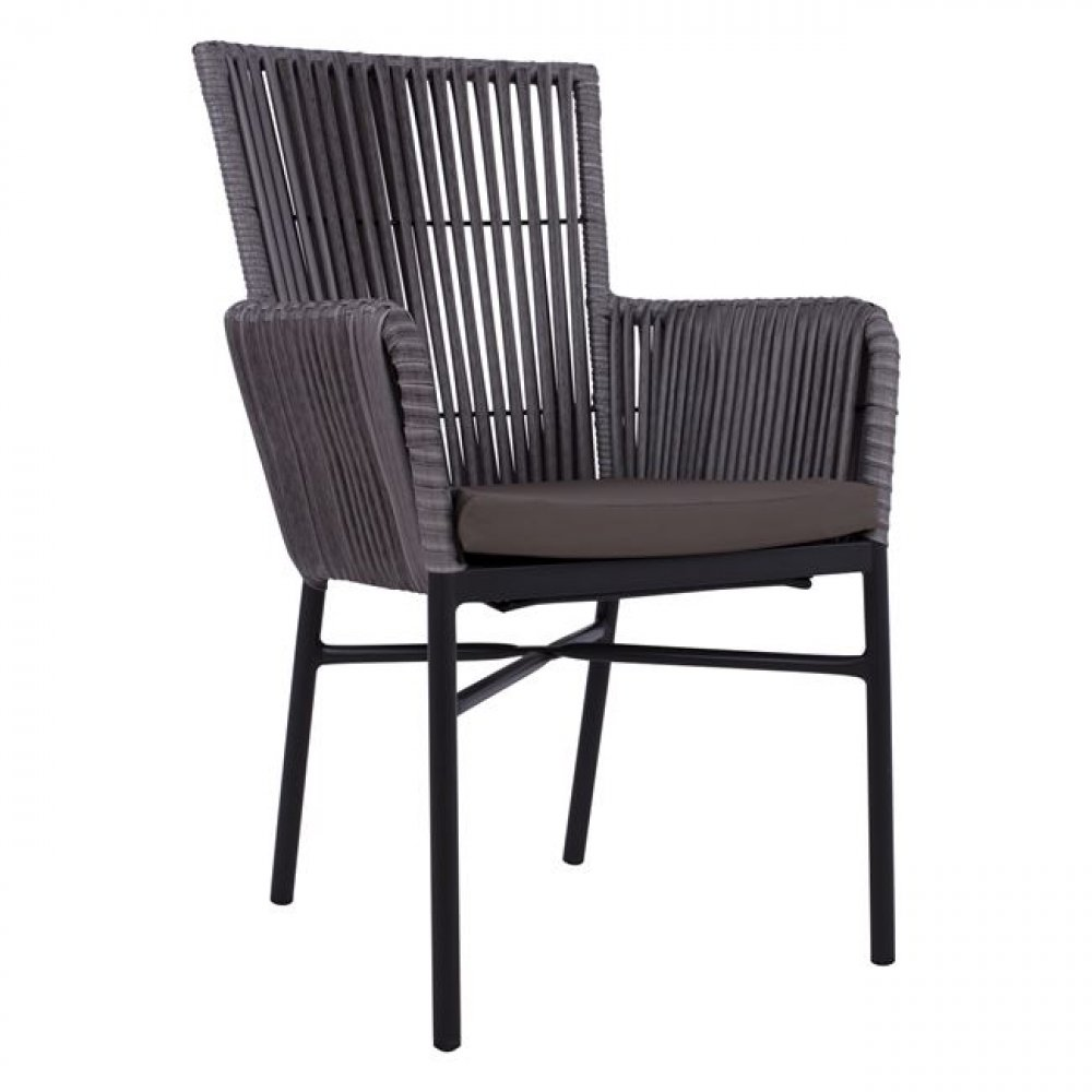 Modern outdoor chair in aluminum | Wicker in anthracite