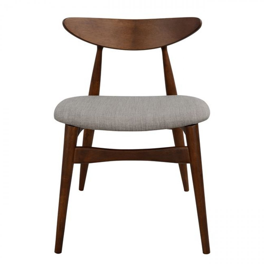 Dining chair wood walnut color light gray seat