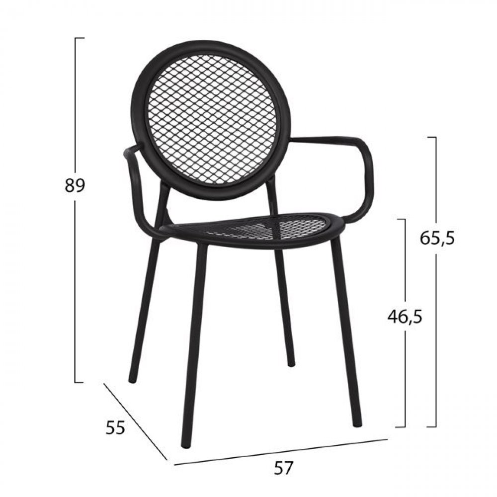 Industrial chair with armrests