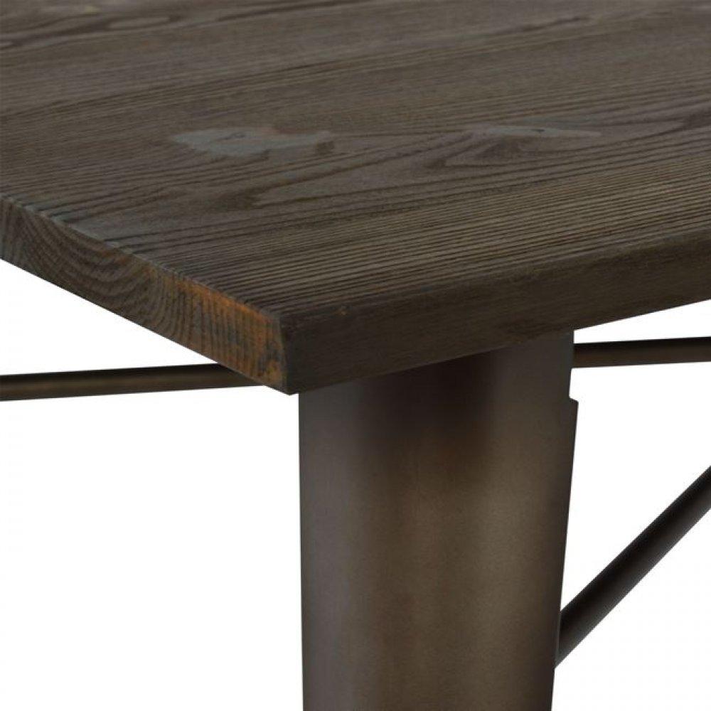 tisch metall holz tischplatte 120x80x76cm rostig. Black Bedroom Furniture Sets. Home Design Ideas
