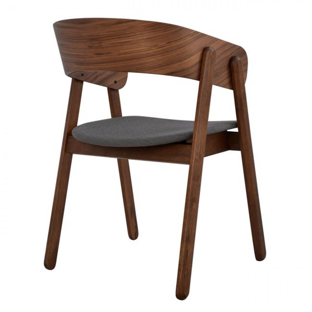 Dining chair Armchair in walnut | With a gray seat