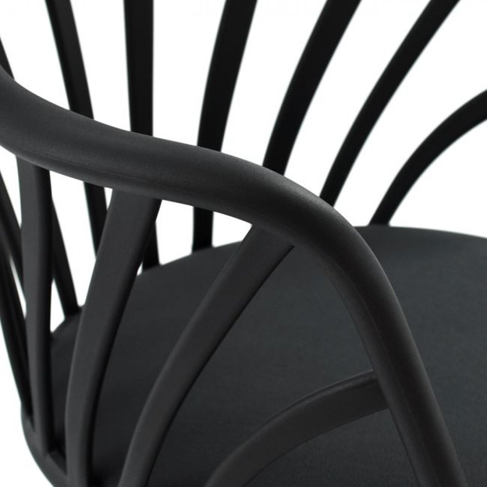 Anais dinning room chair with wooden legs in black