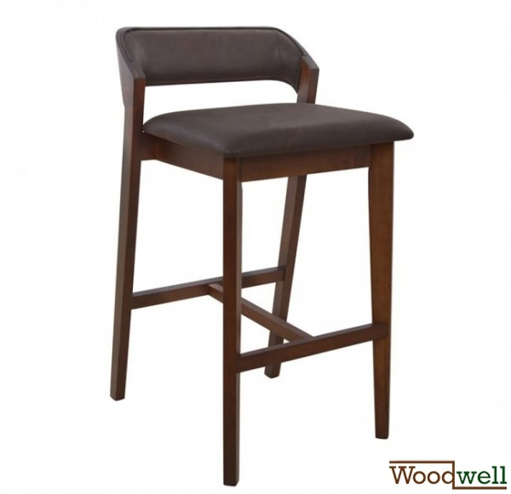 Barstool LOTTA made of wood | With brown fabric