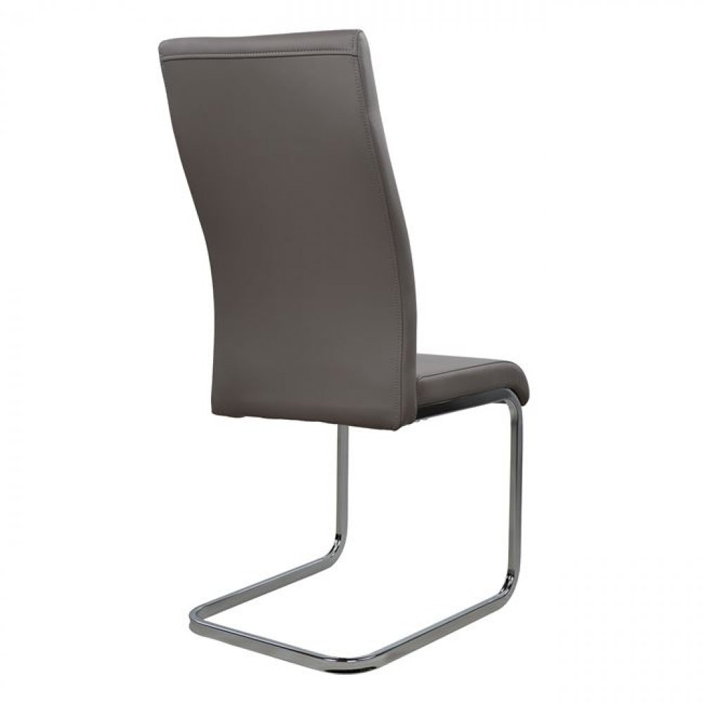 Cantilever dining chair with gray leatherette seat