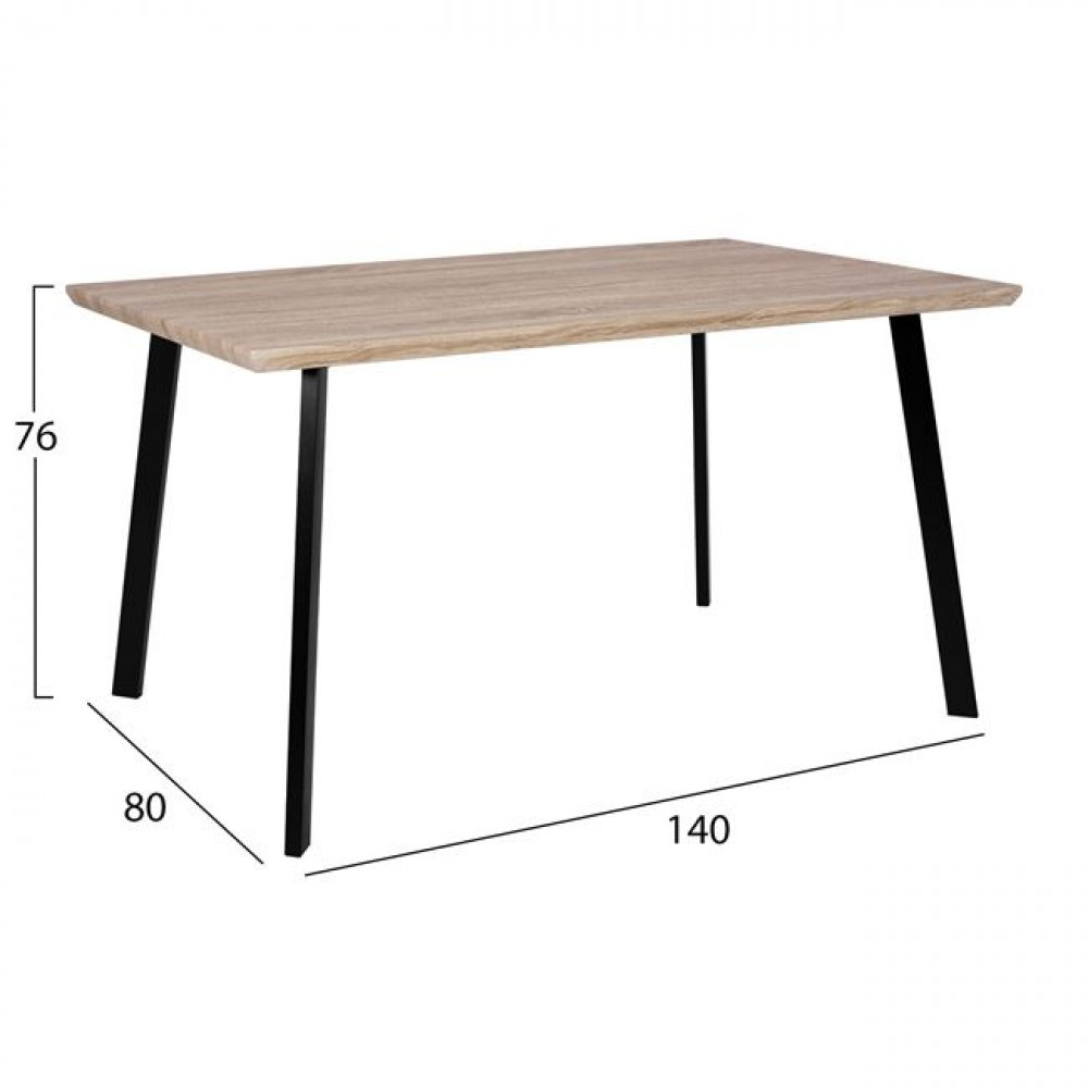 Table with black metal frame and Sonama decor