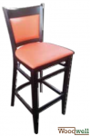 Barstool made of beech with orange-red upholstery