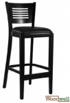 Bar stool in beech wood with backrest | In black
