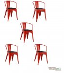 Antique red chair RELIX, with armrests in industrial design and upholstery in black