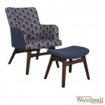 Set Berger with armrest and footrest, in blue fabric with geometric patterns