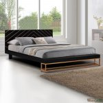 Modern bed Sherri in solid mango wood 180 x 213 cm