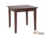 "Simple and solid wooden table in the color ""walnut"""