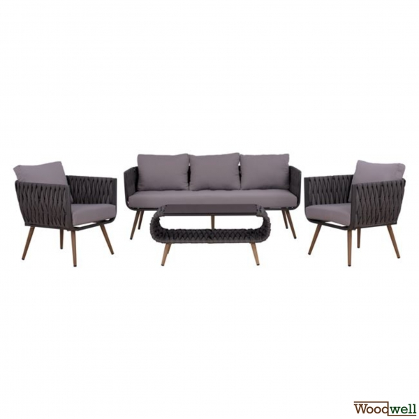 SAN DIEGO 4 pcs. - Lounge set - Aluminum - CASSIE - Gray - Brown