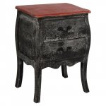 "Bedside table ""Simone"" Patina black and red"