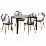 Modern dining room set 5 pieces (with black metal base)
